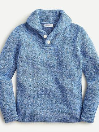 KIDS Boys' shawl-collar sweater in marled cotton