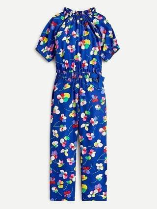 KIDS Girls' ruffle-neck jumpsuit in blue floral