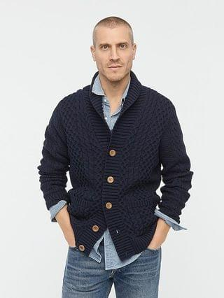 MEN Cotton cable-knit shawl-collar cardigan