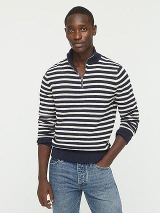MEN Cotton half-zip sweater in stripe rustic moss stitch