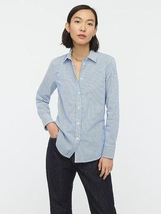 WOMEN Slim-fit stretch cotton poplin shirt in stripe