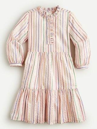 KIDS Girls' long-sleeve tiered dress in rainbow stripe
