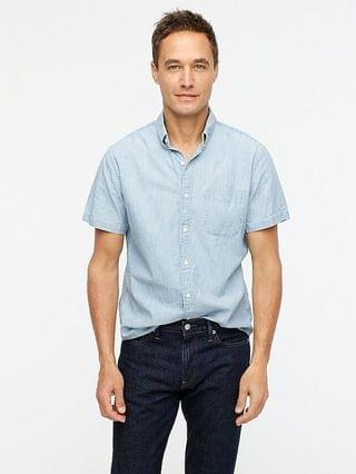 MEN Short-sleeve indigo chambray shirt