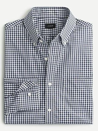 MEN Slim Ludlow wrinkle-free stretch cotton poplin shirt in gingham