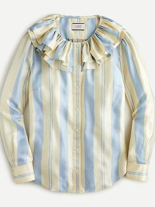 WOMEN Collection ruffle-collar top in striped silk-twill
