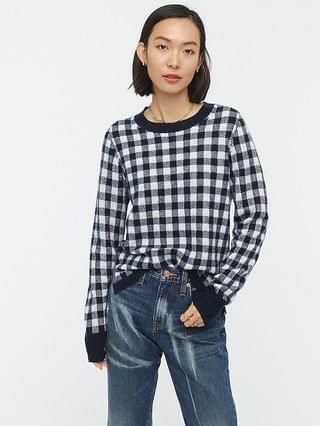 WOMEN Cashmere crewneck sweater in gingham