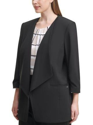 WOMEN Plus Size 3/4-Sleeve Open-Front Jacket