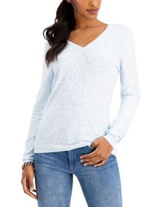 WOMEN Cotton Cable-Knit Sweater