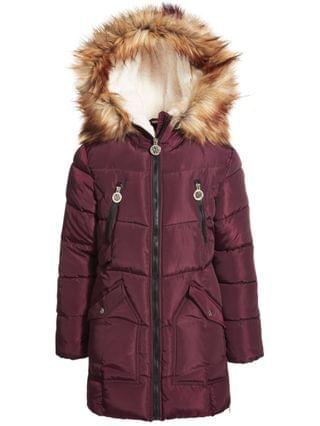 KIDS Big Girls Fashion Quilted Puffer with Faux-Fur Trim