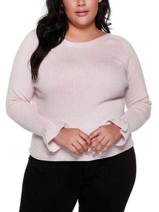 WOMEN Black Label Plus Size Boat Neck Sweater With Flounce Sleeves