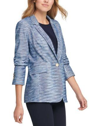WOMEN Petite Striped One-Button Blazer