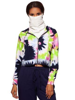 WOMEN Tie-Dyed Cropped Zip-Up Hoodie With Removable Dickie Mask Created for Macy's