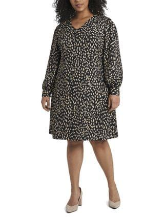 WOMEN Plus Size Long Sleeve Animal Reset Print V-Neck Dress