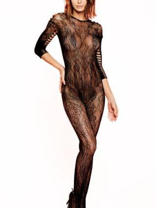 WOMEN Charlotte One Piece Hosiery Catsuit with Shredding and Cutouts