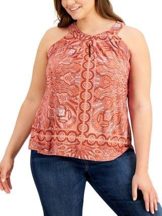WOMEN INC Plus Size Printed Twist-Keyhole Top Created for Macy's