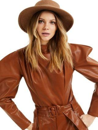 WOMEN CULPOS X INC Faux-Leather Exaggerated-Sleeve Bodysuit Created for Macy's
