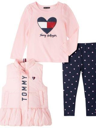 KIDS Little Girls Vest with Long Sleeve T-shirt and Print Legging Set 3 Pieces