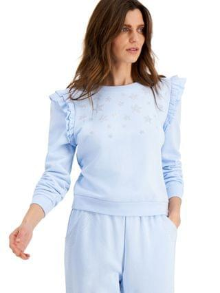 WOMEN INC Embellished-Star Ruffled Sweatshirt Created for Macy's