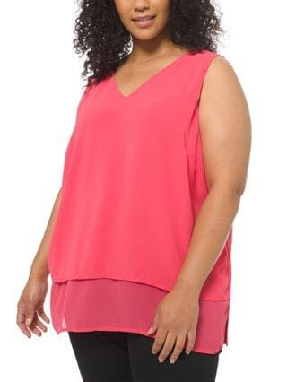WOMEN Plus Size Tiered V-Neck Top