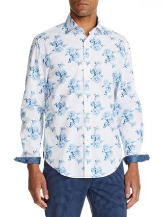 MEN Slim Fit Floral Print Long Sleeve Shirt and a Free Face Mask