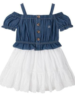 KIDS Little Girls Eyelet Hem Dress 2 Piece