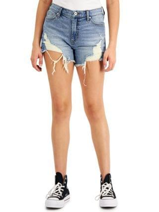 WOMEN Juniors' High-Rise Destructed Jean Shorts