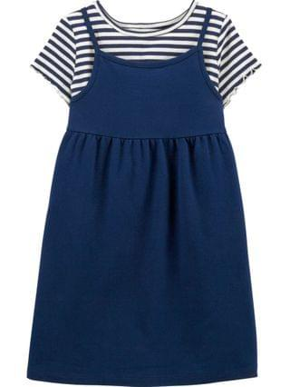 KIDS Big Girls 2 Piece Striped Tee Dress Set