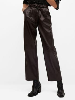 WOMEN Leather Effect Straight Trouser