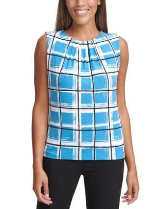 WOMEN Windowpane-Print Pleat-Neck Top