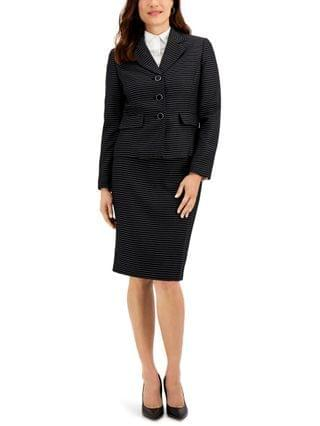WOMEN Petite Striped Tweed Button-Front Notched-Collar Skirt Suit