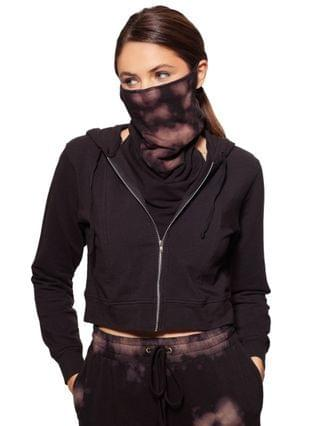WOMEN Cropped Zip-Up Hoodie With Removable Tie-Dyed Dickie Mask Created for Macy's
