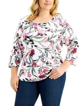 WOMEN Plus Size Printed 3/4-Sleeve Top Created for Macy's