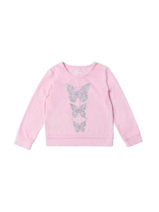 KIDS Little Girls Graphic Velour Sweatshirt