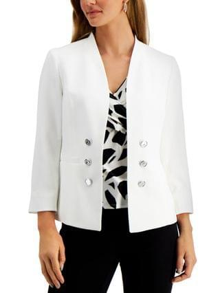 WOMEN Petite Crepe Faux Double-Breasted 3/4-Sleeve Blazer