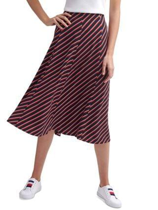 WOMEN Striped A-Line Midi Skirt