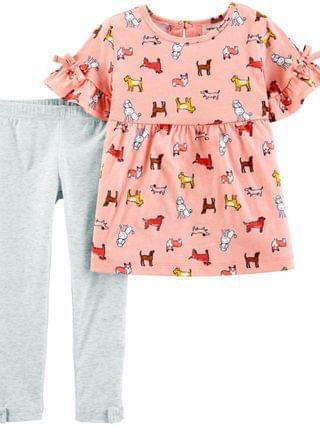 KIDS Toddler Girls 2 Piece Dog Jersey Top Legging Set