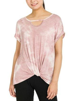 WOMEN Juniors' Twist-Hem Keyhole-Cutout Top