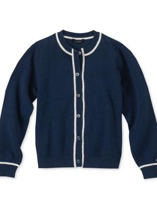 KIDS Big Girls Contrast-Trim Cotton Cardigan