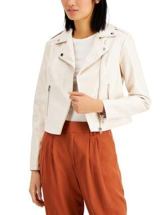 WOMEN Textured Patent Croc-Embossed Faux-Leather Moto Jacket Created for Macy's