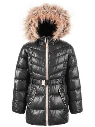 KIDS Big Girls' Belted Puffer Jacket With Faux-Fur Trim