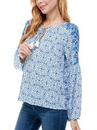 WOMEN Juniors' Floral-Print Split-Neck Top
