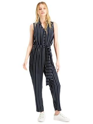 WOMEN Striped Sleeveless Jumpsuit Created for Macy's