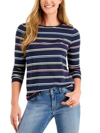WOMEN Petite Striped Crewneck Top Created for Macy's