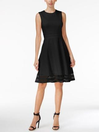 WOMEN Illusion-Trim Fit & Flare Dress Regular & Petite