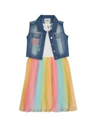 KIDS Big Girls Ombre Pleated Dress with Denim Vest