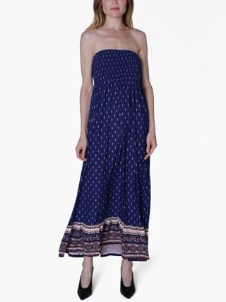 WOMEN Juniors' Printed Strapless Maxi Dress