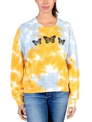 WOMEN Juniors' Butterfly Graphic Tie-Dyed Sweater
