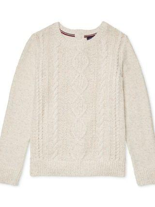 WOMEN Cable-Knit Sweater with Velcro Closures