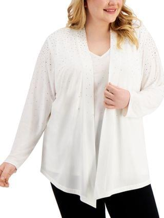 WOMEN Plus Size Studded Layered-Look Top