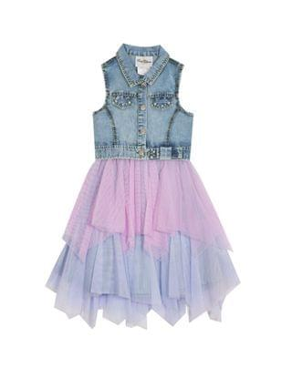 KIDS Big Girls Denim Dress with Mesh Skirt